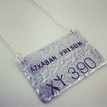 Sirius Black Azkaban Prison Number Necklace Harry Potter Inspired Necklace  -  Silver Hand Stamped Charm