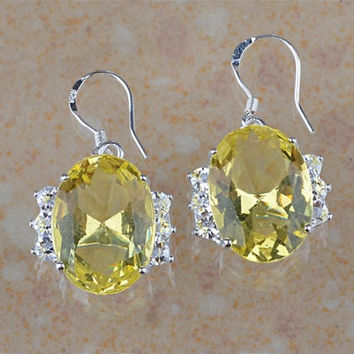 Large Topaz Gemstone Dangle Earrings with Diamond CZ Accents