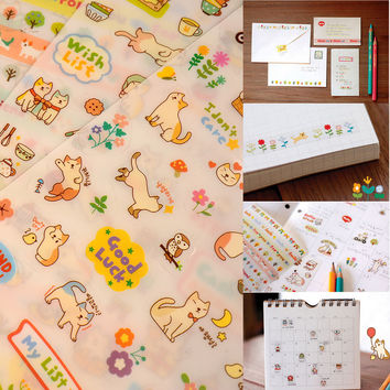 New Lovely 6 Sheet Cat Paper Stickers for Diary Scrapbook Book Wall Photo Decor Skin DIY*cartoon stickers