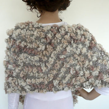 Hand knit shawl / scarf in classic neutrals - cream , nougat and black, cream  - unique