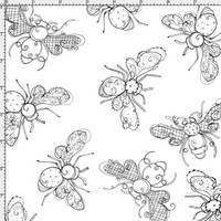 Busy Bees White Fabric