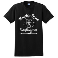 Pumpkin spice & everything nice coffee morning work T Shirt