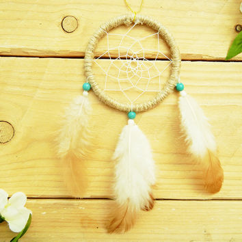 Turquoise Native Car Dreamcatcher: Cute Car Accessory for Women, Car Accessory for Men, Rearview Mirror Dreamcatcher, Car Mirror Car, Boho