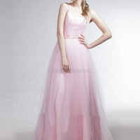 A-line Spaghetti Straps Tulle Floor-length Pink Beading  Evening Dress at dressestore.co.uk