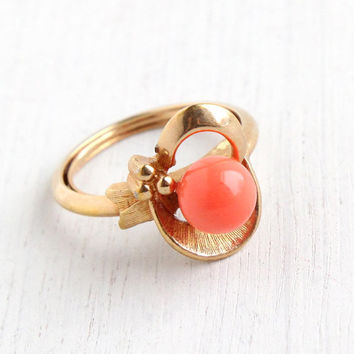 Vintage Coral Orange Lucite Cabochon Ring - Adjustable Gold Tone Signed Avon Retro Modernist  Spindrift Costume Jewelry