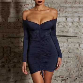 Buy Women's Sexy Off shoulder V-Neck Bodycon Short Mini Dress Online