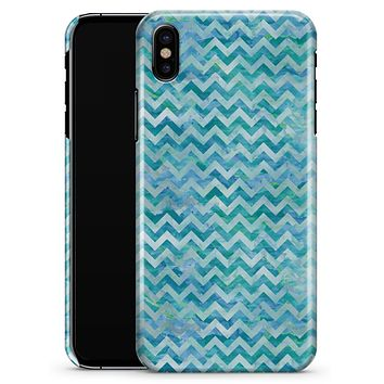 Aqua Basic Watercolor Chevron Pattern - iPhone X Clipit Case
