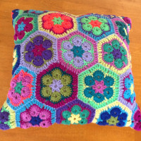 Crochet Hexagons Cushion/ Pillow