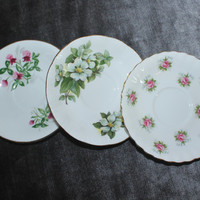 Mixed Set of Three Fine Bone China Saucers, Tea Party, Tea Set, Flower Saucers, Floral Saucers