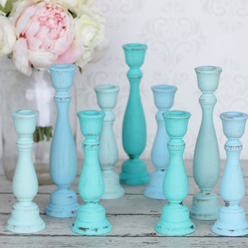 Shabby Chic Candle Holders Distressed Blue Rustic Wedding Decor SET OF 3