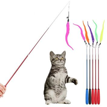 1Pcs Cat Toy Plush Replacement Kitten Pet Dog Teaser Funny Play Interactive Feather