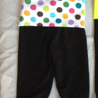 Adorable polka dot baby girl yoga pants, size 3-6m and 6-12m available