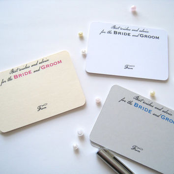 Advice for bride and groom cards, best wishes cards, comment card - 25 cards