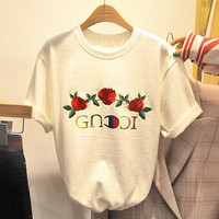 GUCCI  letters and three rose embroidery white T-short top