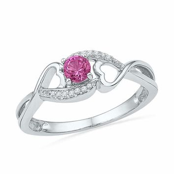 10kt White Gold Women's Round Lab-Created Pink Sapphire Diamond Heart Ring 1/20 Cttw - FREE Shipping (US/CAN)