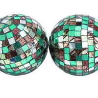 Attractive Green Mirror Mosaic Ball Set Of Four