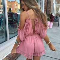 Cold Shoulder V-Neck Romper 10223