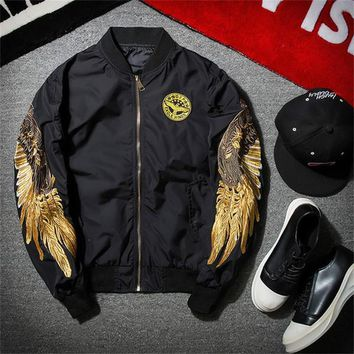 2017 Spring Thin Mens Fashion MA1 Bomber Jacket High Quality Male Black Wind Embroidery MA-1 Casual Bomber Jackets M-2XL