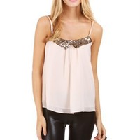 Rose Sequin Bib Sleeveless Top