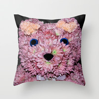BEARY FLORAL Throw Pillow by catspaws