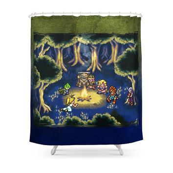 Society6 Chrono Trigger Camping Scene Shower Curtains
