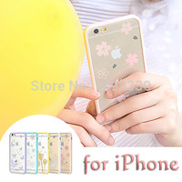 2015 New Fashion Transparent Printing Butterfly Feather Plant Snowflake Case Luxury Bumper Case For iPhone 5 5s 6 6Plus 4.7 5.5