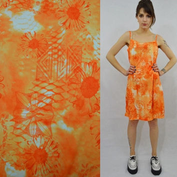 Daisy Dress Floral Orange Tank Hippie Psychedelic Large Funky Vintage Womens Clothing Bright Patterned Dress Summer Sun Dress 1990s