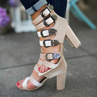 Red Desert Multi Buckle Strappy Velvet Heels (Nude)
