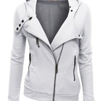Doublju Women Slim Fit Fleece Zip-up Hoodie Jacket with Zipper Point