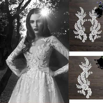 10PC White Car Bone Lace Flowers DIY Hair Accessories Lace Bridal Gown Wedding Shoes Head Ornaments Applique PatchesRS379