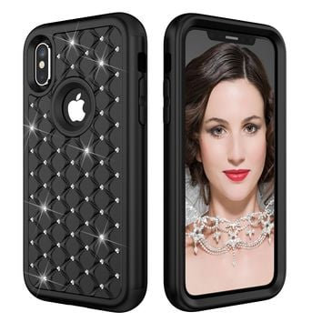 Luxury Bling Diamond Shock Proof Phone Case For iPhone X 10