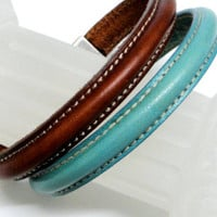 Women's leather bracelet. Half cuff bracelet. Red, black, brown, green, blue Magnetic clasp.