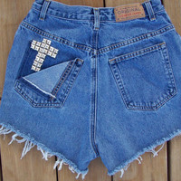 High Waisted Studded Cross Shorts Size 8 by DenimAndStuds on Etsy