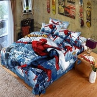 UNIKEA 2016 New 3D Printed Spiderman Kids Bedding Set for Boys Teen 100% Cotton 4 pcs Duvet Cover Flat Sheet with 2 Pillowcases