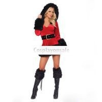 Cosplay Costumes Black Red Stunning Fur Trim Hooded Santa Sexy Christmas Costume [TSY111116039] - $31.99