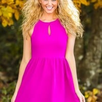 EVERLY:Winter Engagement Dress-Magenta