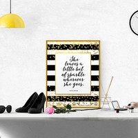 "Kate Spade Quote ""She Leaves a Little Bit of Sparkle Wherever She Goes"" Sparkle Darling Hustle Girl Room Decor Gold Foil SPARKLE PRINTABLE"