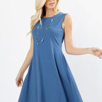 The Perfect Pocket Dress in Blue Mist