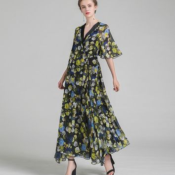 Couture Floral Silk Maxi Dress (Plus Size Available)