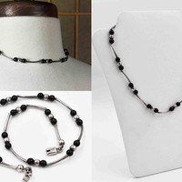 Vintage Mexico Sterling Silver & Black Glass Beaded Necklace, Silver Beads, Choker, Wavy, Curved, Station, Chunky, So Pretty! #c197