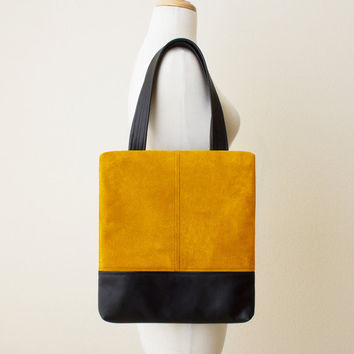 Suede Leather and Leather Tote - Gold and Black