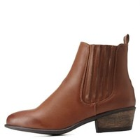 Chestnut Bamboo Flat Chelsea Booties by Bamboo at Charlotte Russe