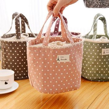 YIYOHI Casual Portable Lunch Bag Dots Insulated Canvas Thermal Food Picnic Lunch Bags For Women Kids Cooler Lunch Box Bag Tote