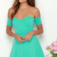 Tea Cup Mint Green Off-the-Shoulder Dress