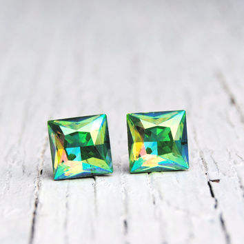 Peridot Green Aurora Borealis Earrings Swarovski Peridot Studs Super Sparklers Square Swarovski Crystal Peridot Stud Earrings Mashugana