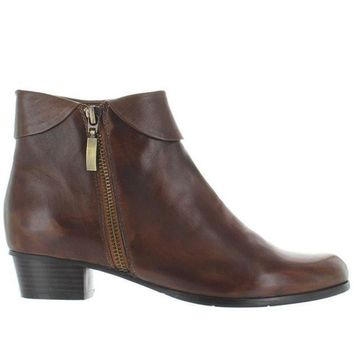 Spring Step Stockholm   Brown Leather Side Zip Cuff Bootie