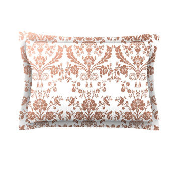 "KESS Original ""Baroque Rose Gold"" Abstract Floral Pillow Sham"