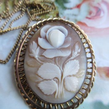 Vintage 40s Walter Lampl Cameo Necklace Floral Cameo in Gold Fill