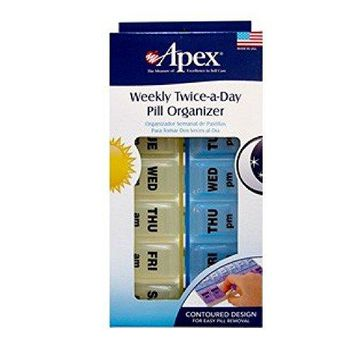Apex Twice-A-Day Weekly Pill Organizer 1 ea