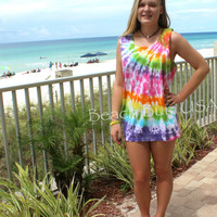 Rainbow Tie Dyed Tank Top  Swim Suit Cover Unisex Sizing Comfort Color
